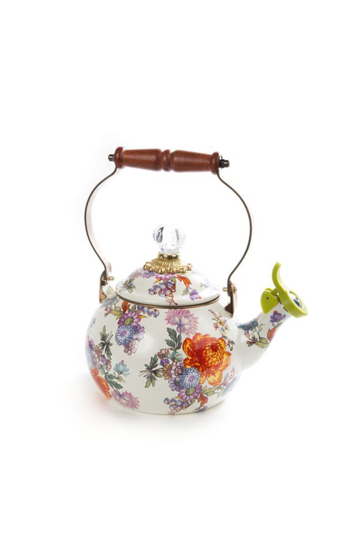 Flower market 2 qt whistling tea kettle