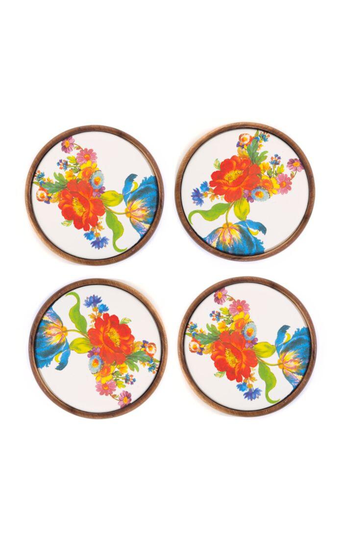 Flower market coasters set of 4