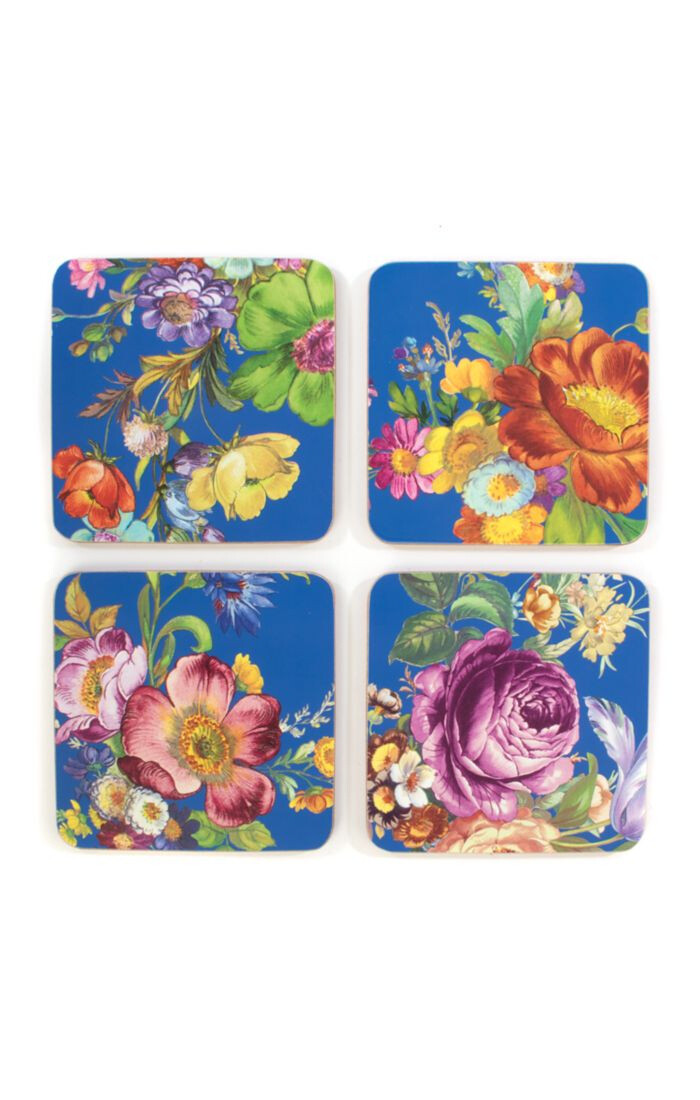 Flower market lapis cork back coasters set of 4