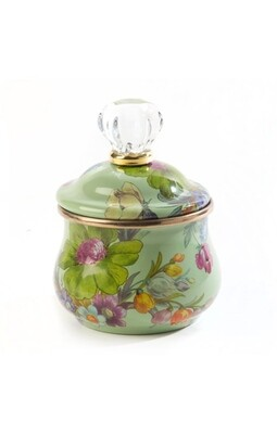 Flower market lidded sugar bowl green