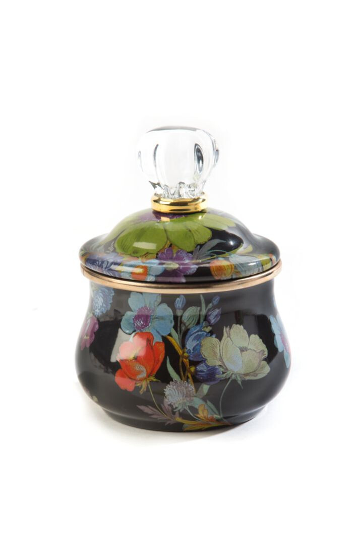 Flower market lidded sugar bowl black