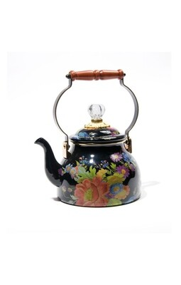 Flower market tea kettle 2 qt black
