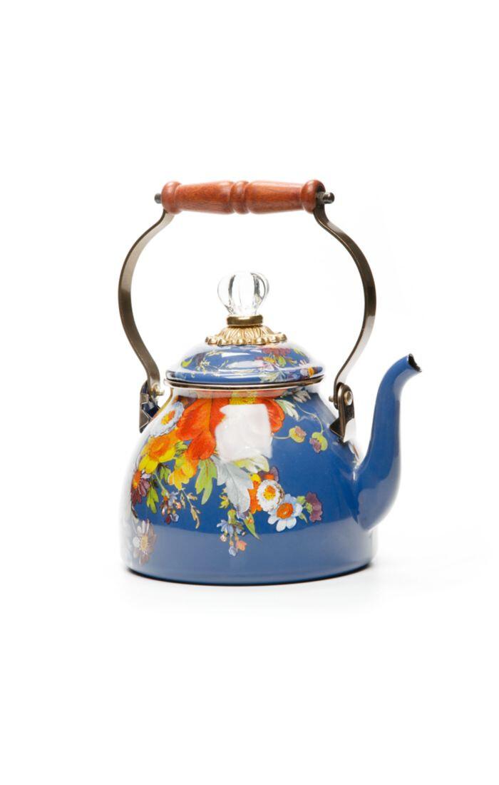 Flower market tea kettle 2 qt lapis