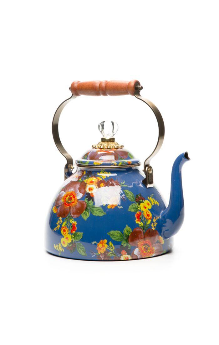 Flower market tea kettle 3 qt lapis