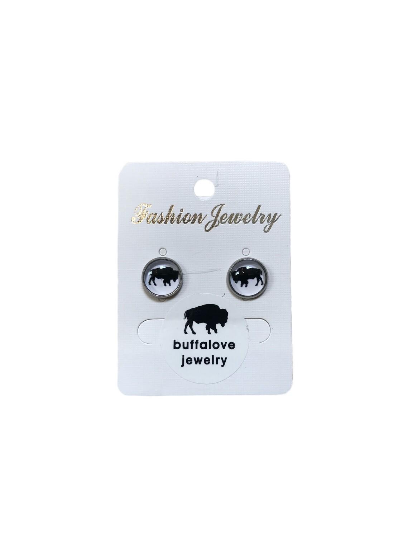 Buffalo earrings studs white