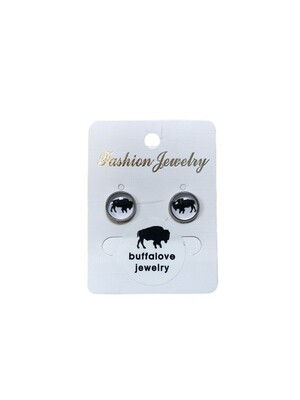 Buffalo earrings studs white