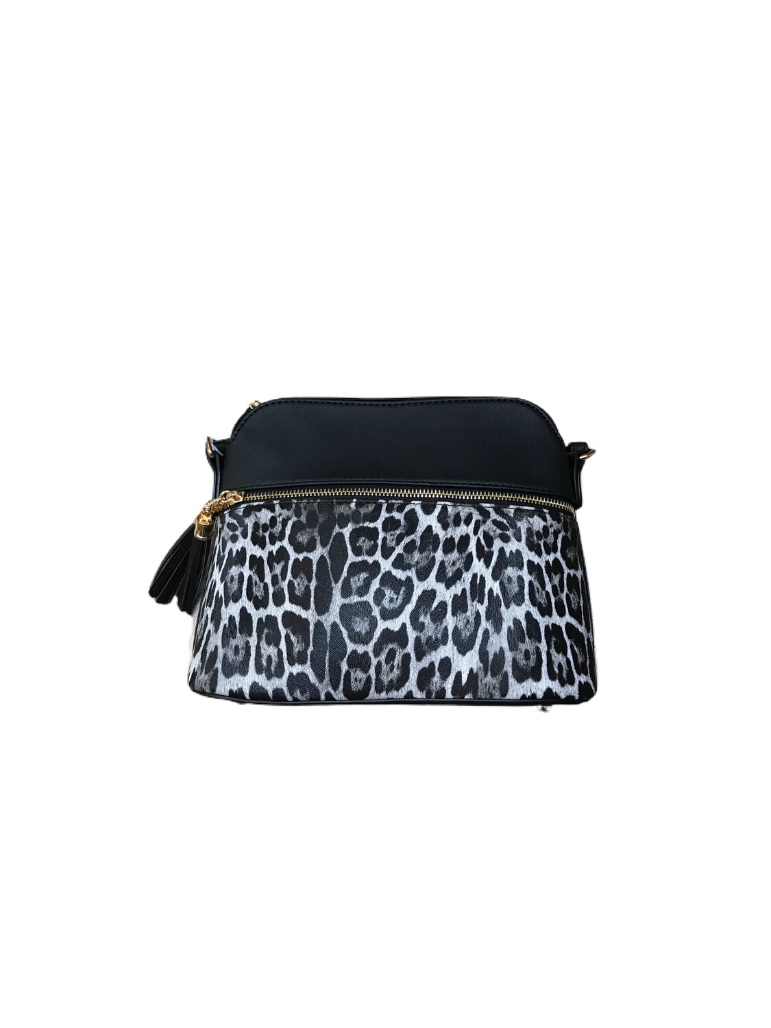 Leopard crossbody black two tone large