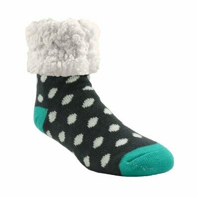 Pudus classic socks gray and white polka dot