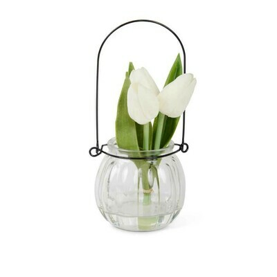 7 inch tulip in glass bottle white