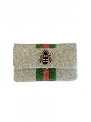 Queen bee beaded crossbody bag silver stripe beaded