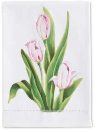 Cotton guest towel tulips open