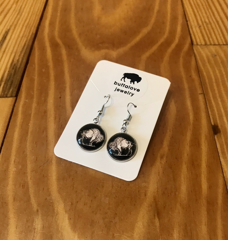 Buffalo dangle earrings nickel