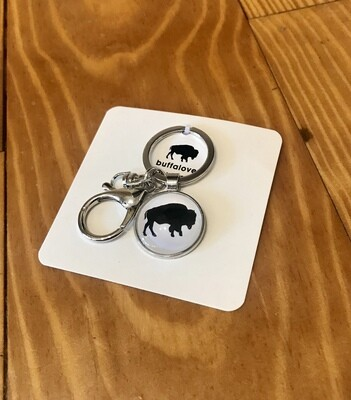 Buffalo keychain white