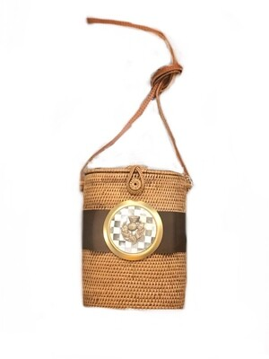 Straw bag with thistle and check medallion