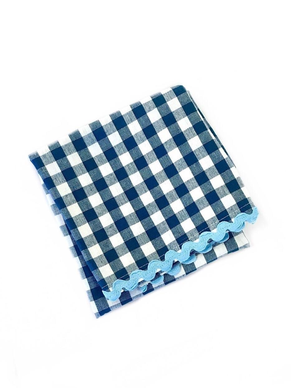 Gingham towel blue