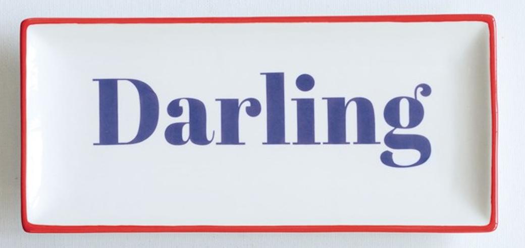 Darling stoneware plate blue writing