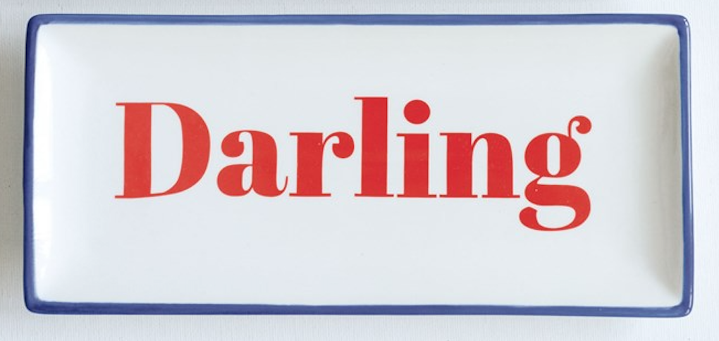 Darling stoneware plate red writing