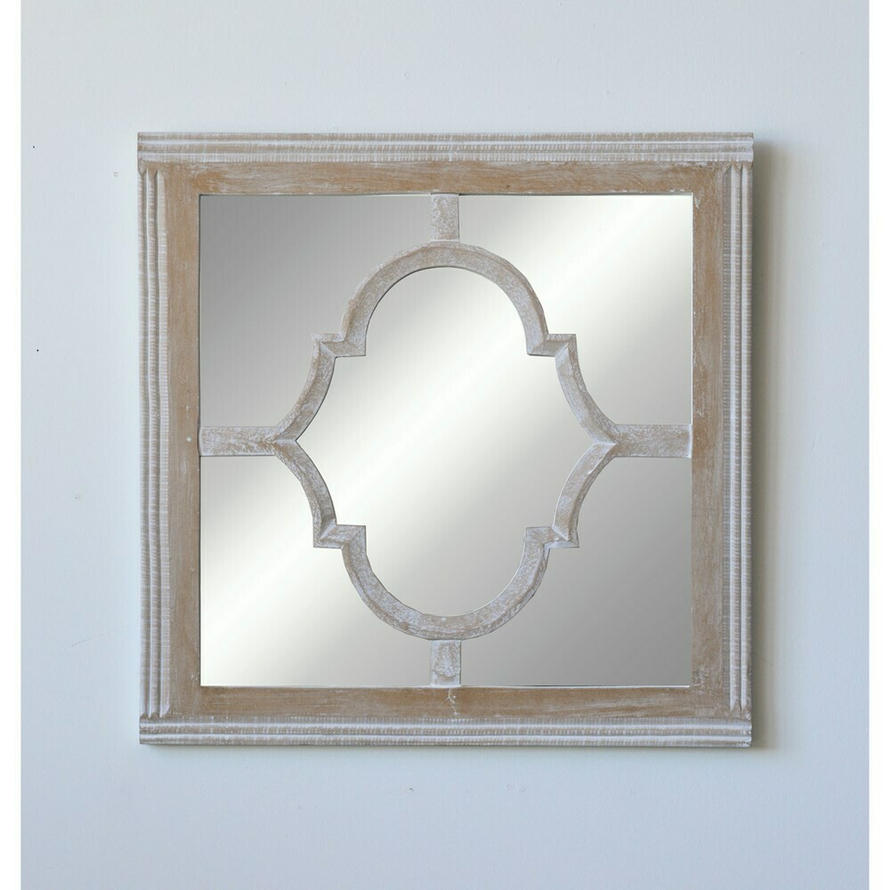 Square wood and glass mirror 23 inch