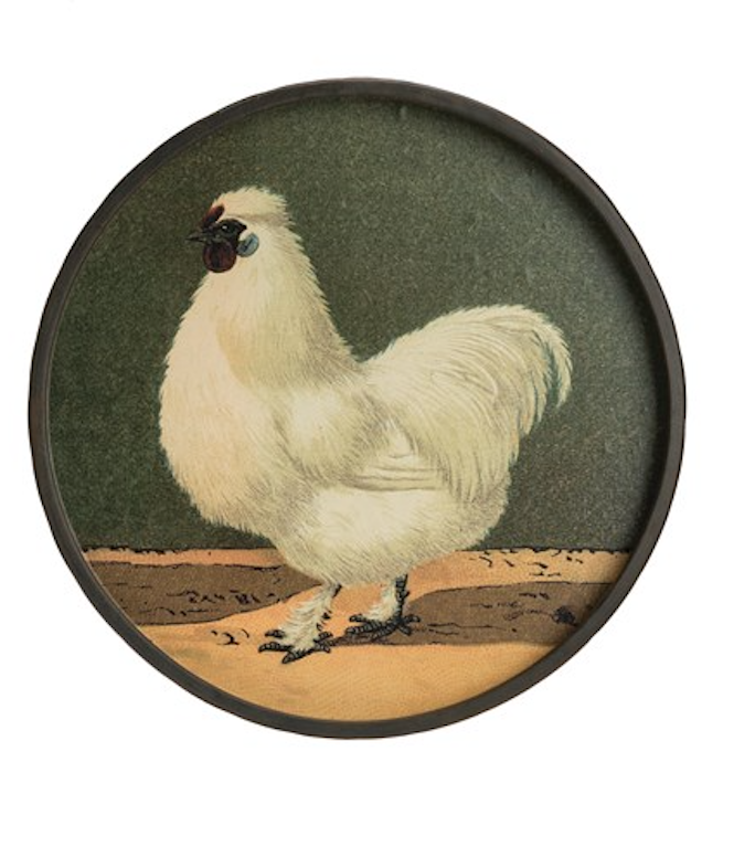Round metal chicken wall decor white 11 inch