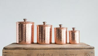 4 PIECE CANISTER SET COPPER FINISH