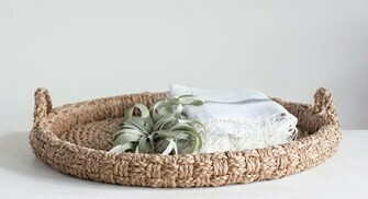"""29"""" BRAIDED TRAY WITH HANDLES"""