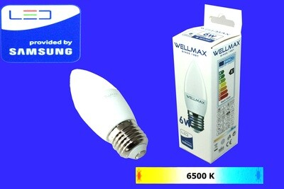 Էլ.լամպ LED Wellmax 6W neutral white (C37 E27 6500