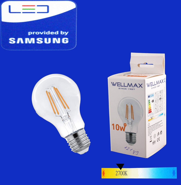 Էլ.լամպ LED Wellmax 10W warm white (A60 E27 2700K)