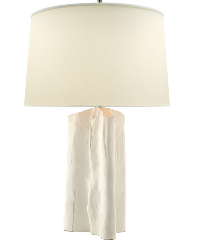 VT102 Faux Bois Plaster White Table Lamp with Natural Paper Shade