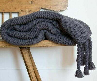 PM252 Nubby Throw with Tassels - Midnight