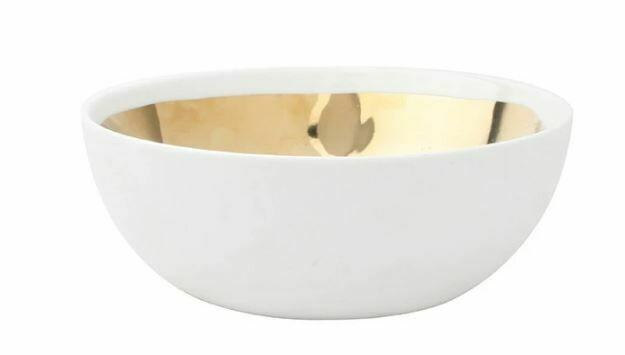 CS313 Extra Large Gold/White Ceramic Bowl