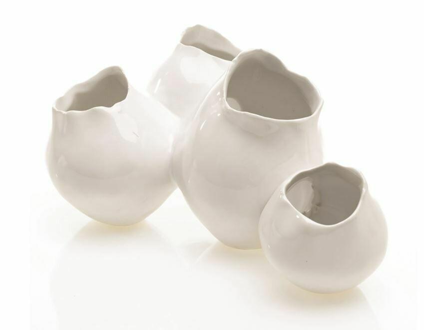 AR071 Quad White Ceramic Vase