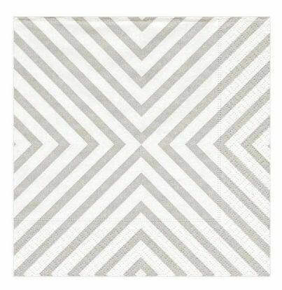 CR002 Chevron Pale Silver - Cocktail Napkin