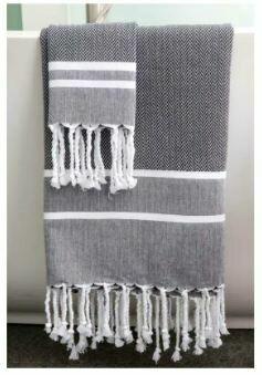 SL014 Herringbone Fouta Towel (Black with White Stripes)