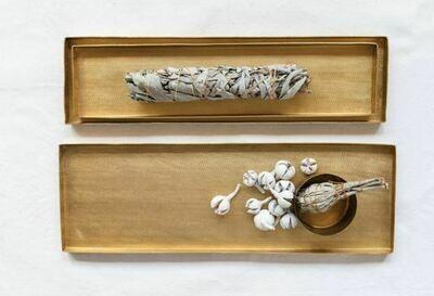 CC139S Textured Metal Tray - Matte Brass Small