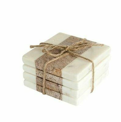 CC142 Square Marble Coasters - White & Natural Set/4