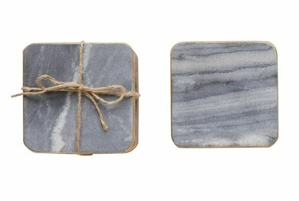 CC158 Square Marble Coasters Grey w/Gold Edge Set/4
