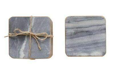 CC158 Square Marble Coasters Grey w/Gold Edge Set/4