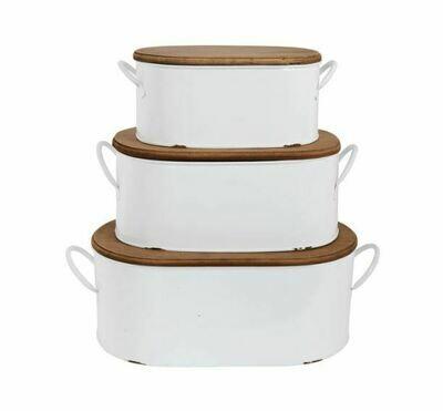 CC170M Medium White Enamel Bread Box