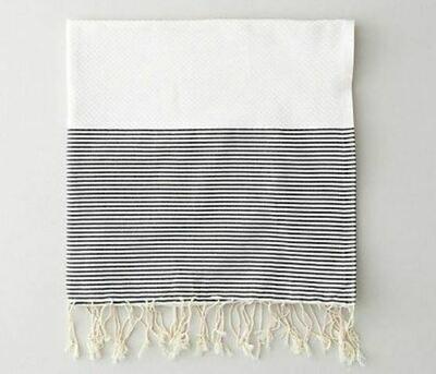 SL005 Positive/Negative Thin Stripes - White/Black Guest Towel