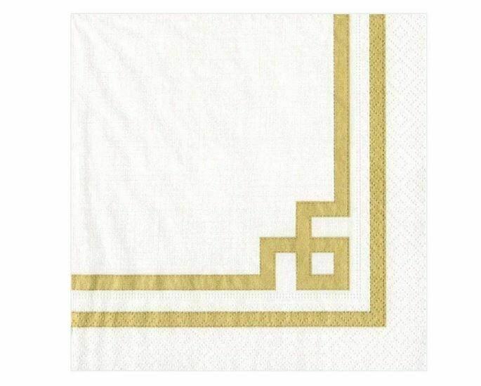CR005 RIVE GAUCHE-GOLD AND WHITE - NAPKIN COCKTAIL
