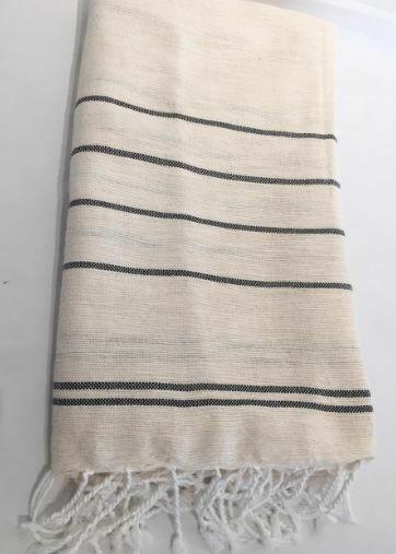 SL155 Throw Linen Cotton Fine Stripes Natural with Black Stripe