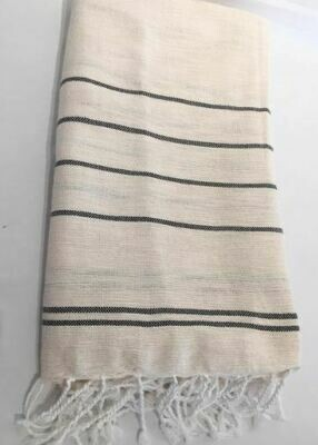 SL155 Throw Linen Cotton Fine Stripes Natural with Black Stripe