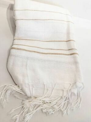 SL057 White Throw w/Tan Stripes