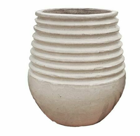 "AE006 Coiled Rim Planter - Large 20"" x 16"" - Oyster White"