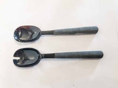 FE176 Black Horn Salad Servers with Satin Finish