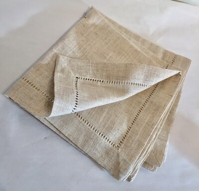 SO042 Heavyweight Hemstitched Dinner Napkin - Natural Set/4