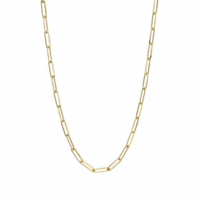 "TD463 Gold Oblong Vermeil Necklace - 16"""