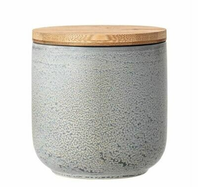 BV146 Stoneware Canister w/Bamboo Lid Grey Matte Reactive Glaze 5