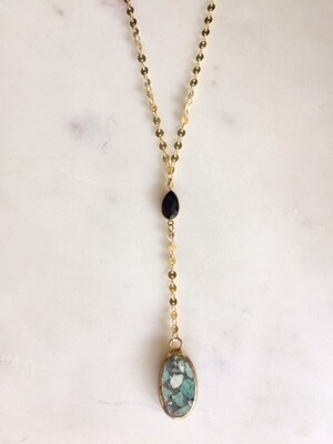 TD450 Mohave Turquoise Black Onyx Necklace