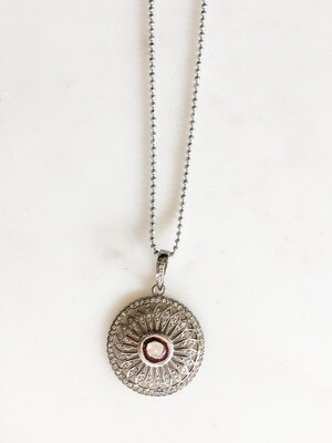 TD485 Sterling Silver Round Raw Diamond Chain Necklace